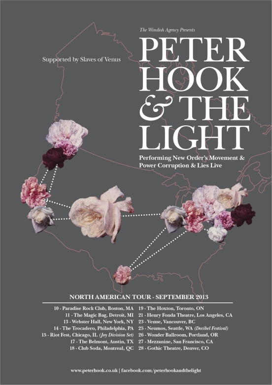 Peter Hook And The Light North America Tour Poster